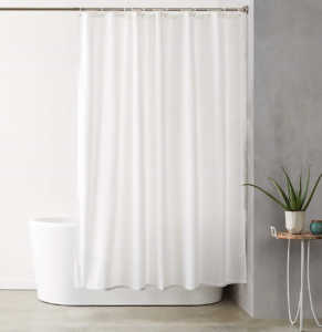 AmazonBasics Shower Curtain with Hooks (Our Selected Best Shower Curtain)