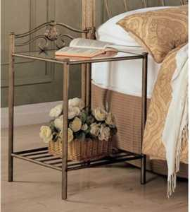 Sydney Metal Nightstand Antique Brushed Gold Nightstand
